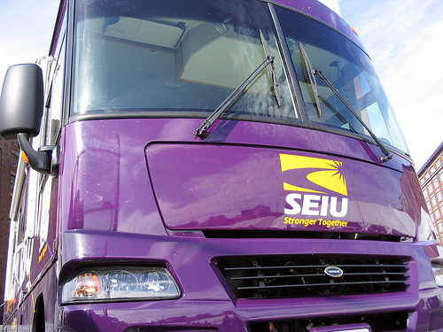 "SEIU boss vows to unleash purple army in swing states to have 13 million ""conversations"""