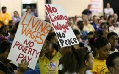 living wage protest