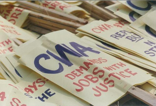 CWA picket signs